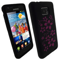 View Item iGadgitz Black &amp; Pink Flowers Silicone Skin Case Cover for Samsung i9100 Galaxy S2 Android Smartphone Mobile Phone + Screen Protector